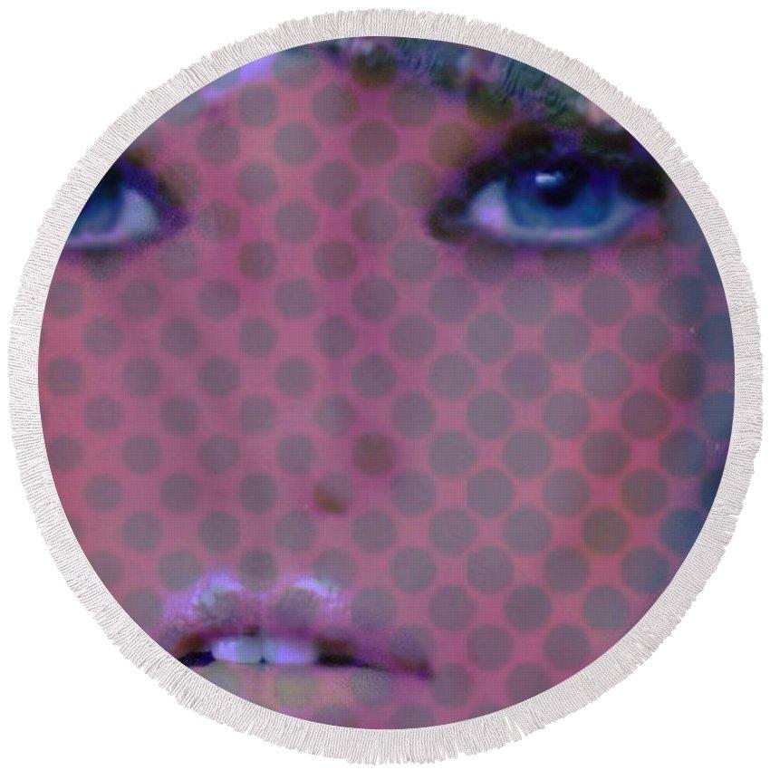 Blue Dot Round Beach Towel featuring the digital art Blue Dot by Pikotine Art