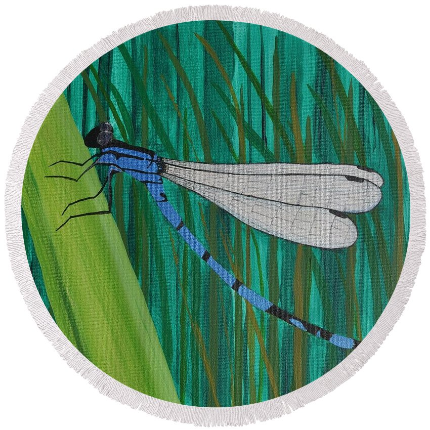Dragonfly Round Beach Towel featuring the painting Blue Dragonfly by Sally Rice
