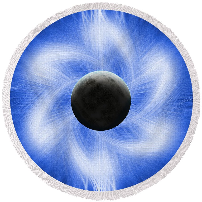 Abstract Round Beach Towel featuring the digital art Blue Eclipse by Antony McAulay