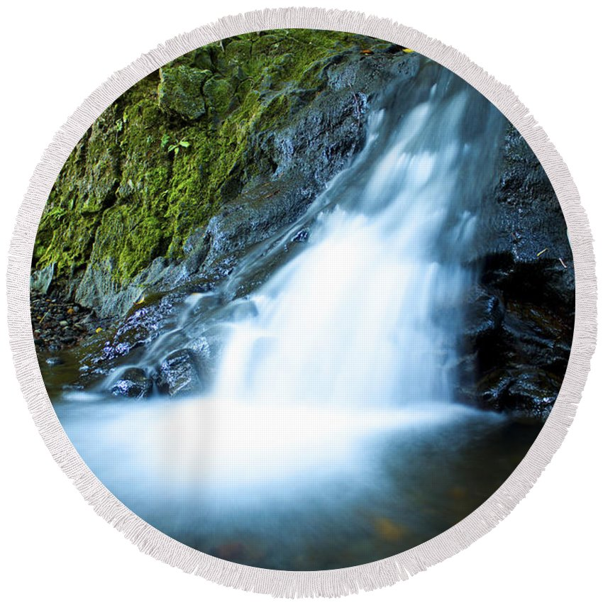 Waterfall Round Beach Towel featuring the photograph Blue Falls Off The Beaten Path by Bryant Coffey