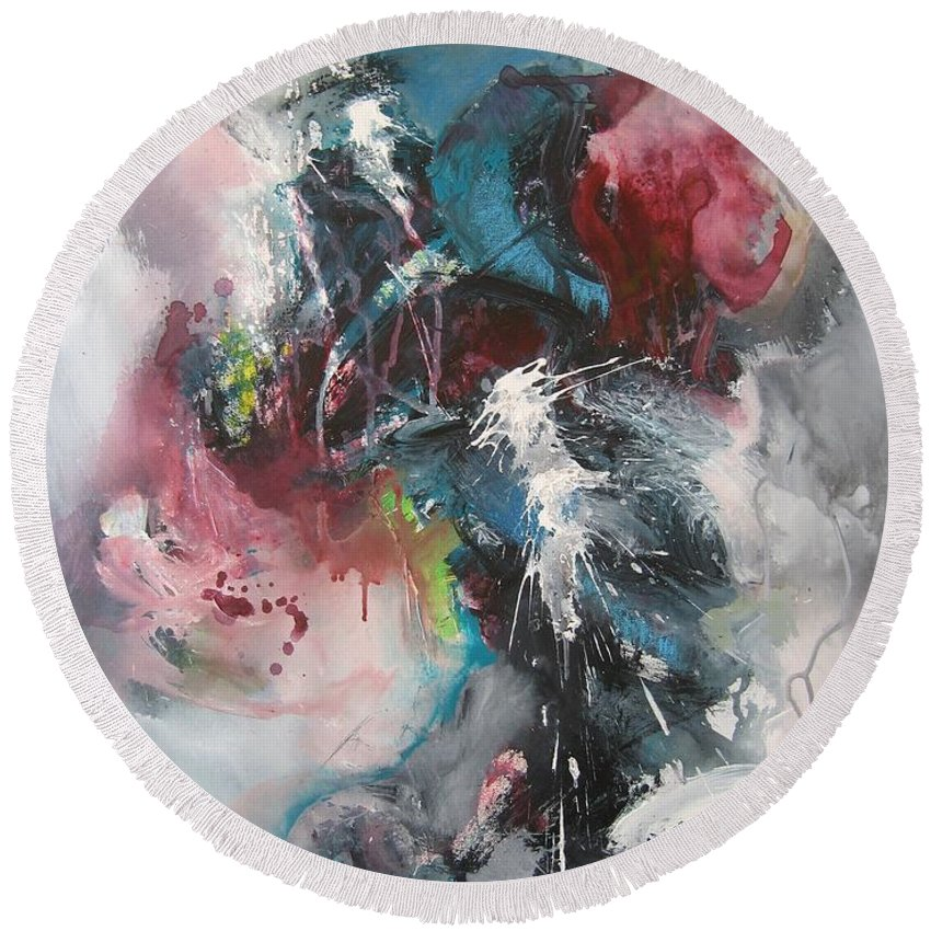 Abstract Paintings Round Beach Towel featuring the painting Blue Fever8 by Seon-Jeong Kim