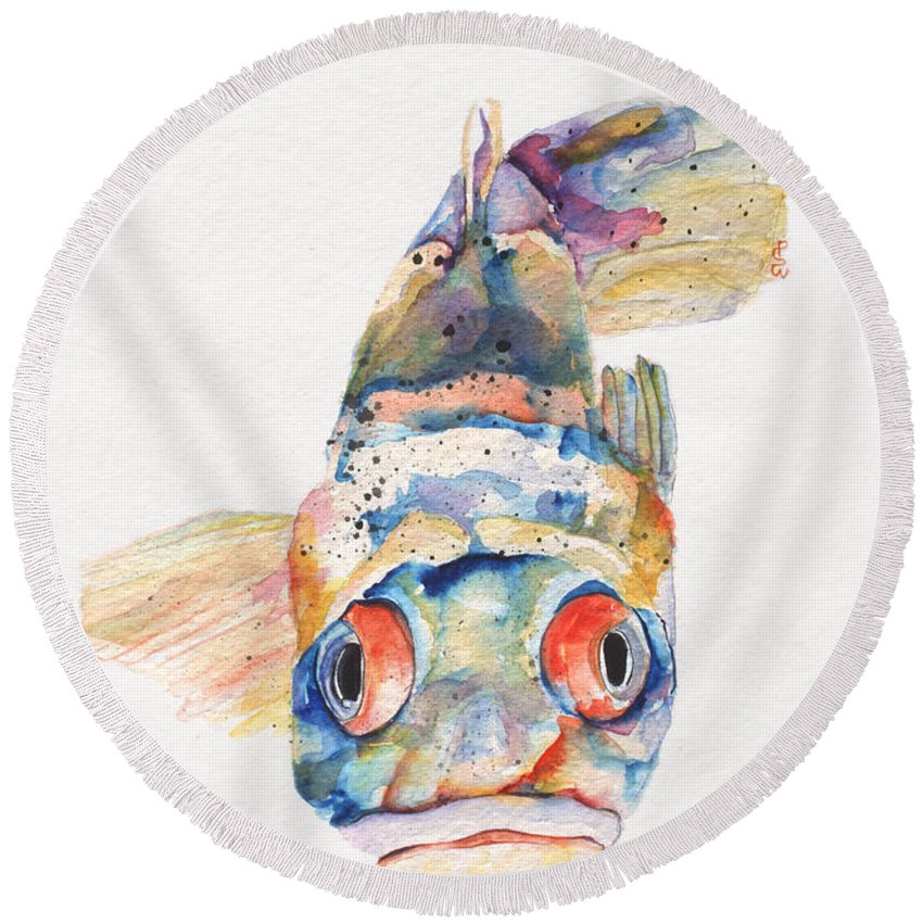 Pat Saunders-white Round Beach Towel featuring the painting Blue Fish  by Pat Saunders-White