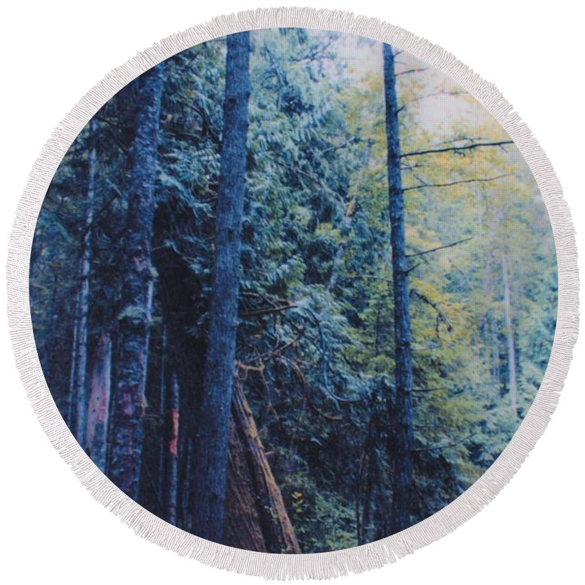 First Star Round Beach Towel featuring the photograph Blue Forest By Jrr by First Star Art
