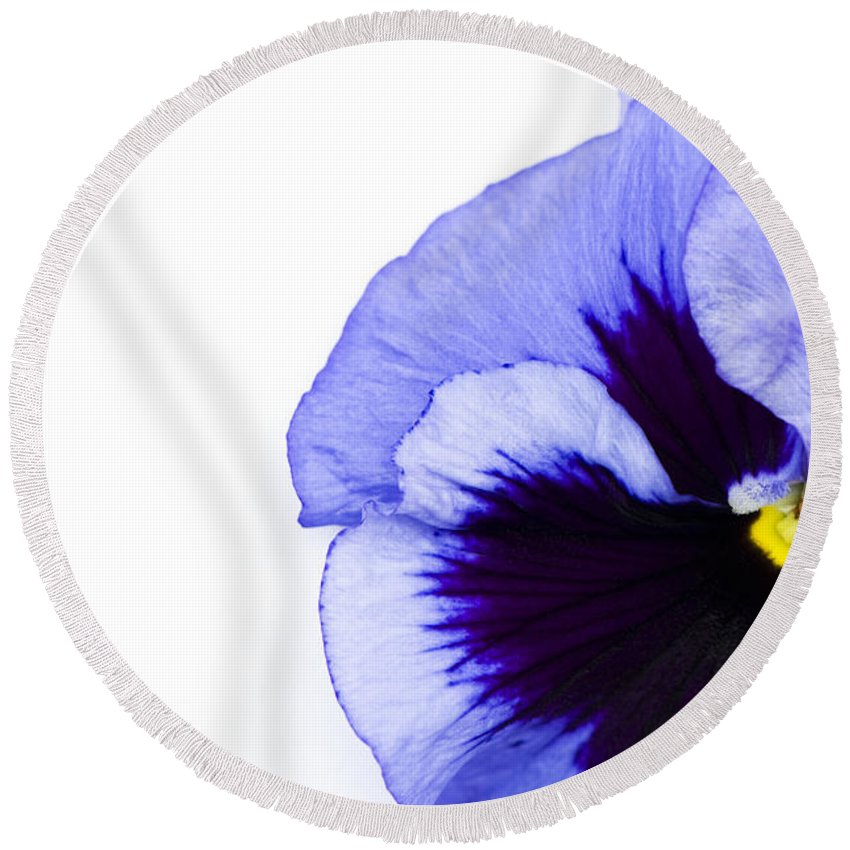 Abstract Round Beach Towel featuring the photograph Blue Frost by Anne Gilbert