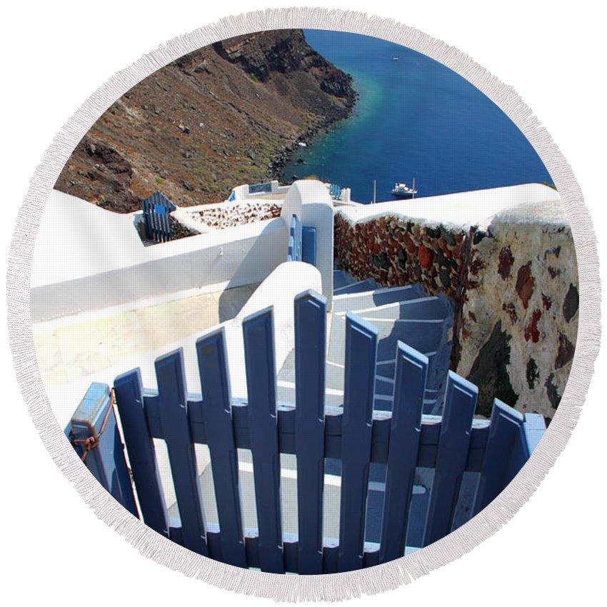 Oia Round Beach Towel featuring the photograph Blue Gate Oia Santorini Greek Islands by Carole-Anne Fooks
