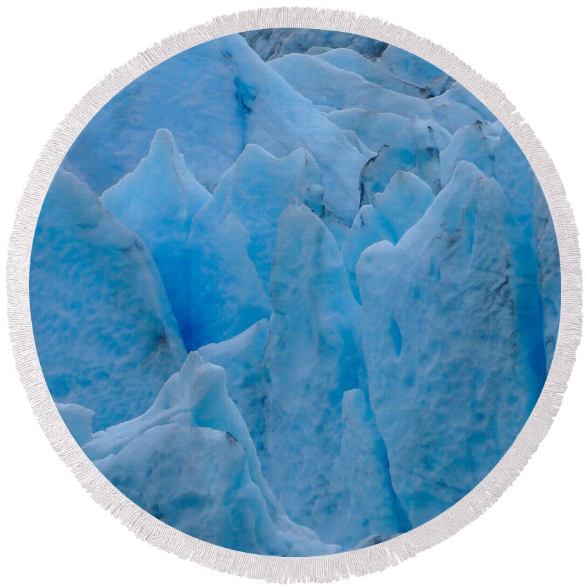 Alaska Round Beach Towel featuring the photograph Blue Glacier by Jennifer White