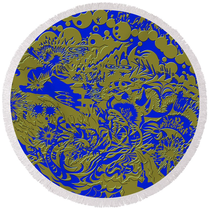 Tiles Abstract Blue Gold Seacorc Round Beach Towel featuring the painting Blue Gold 40 by Sean Corcoran