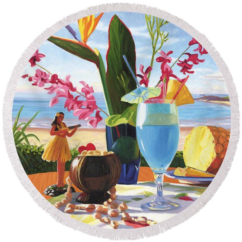 Blue Hawaiian Round Beach Towel featuring the painting Blue Hawaiian by Steve Simon