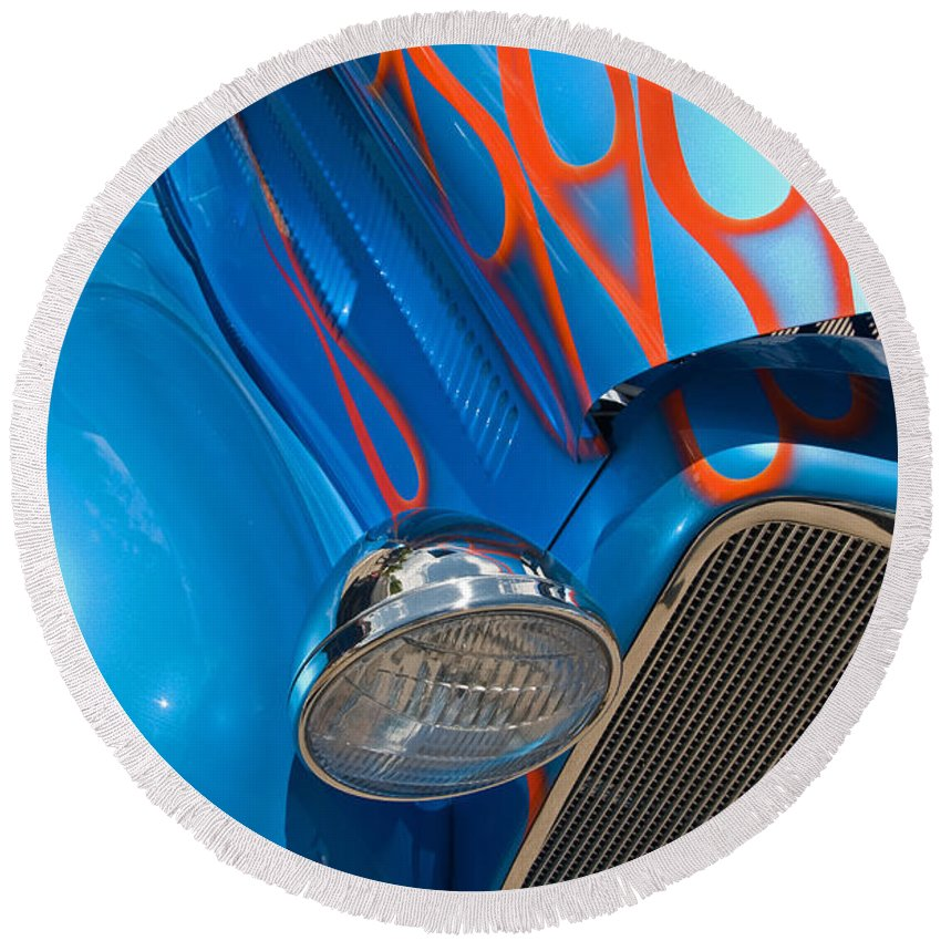 Hot Rods Round Beach Towel featuring the photograph Blue Hot Rod by Robert VanDerWal