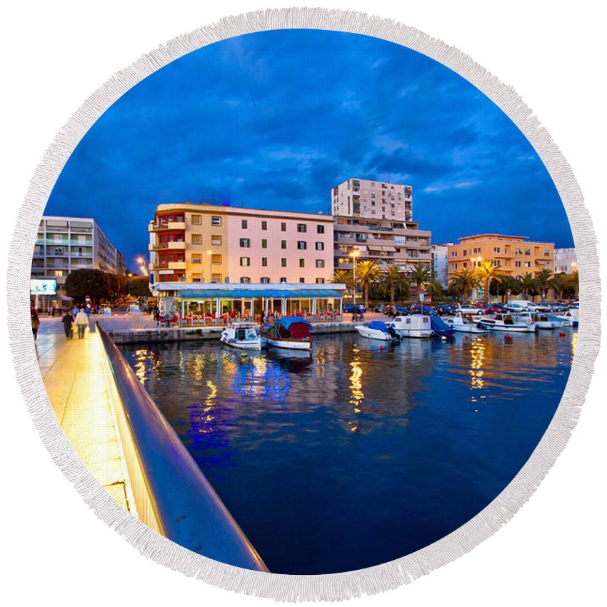 Croatia Round Beach Towel featuring the photograph Blue Hour Zadar Waterfront View by Brch Photography