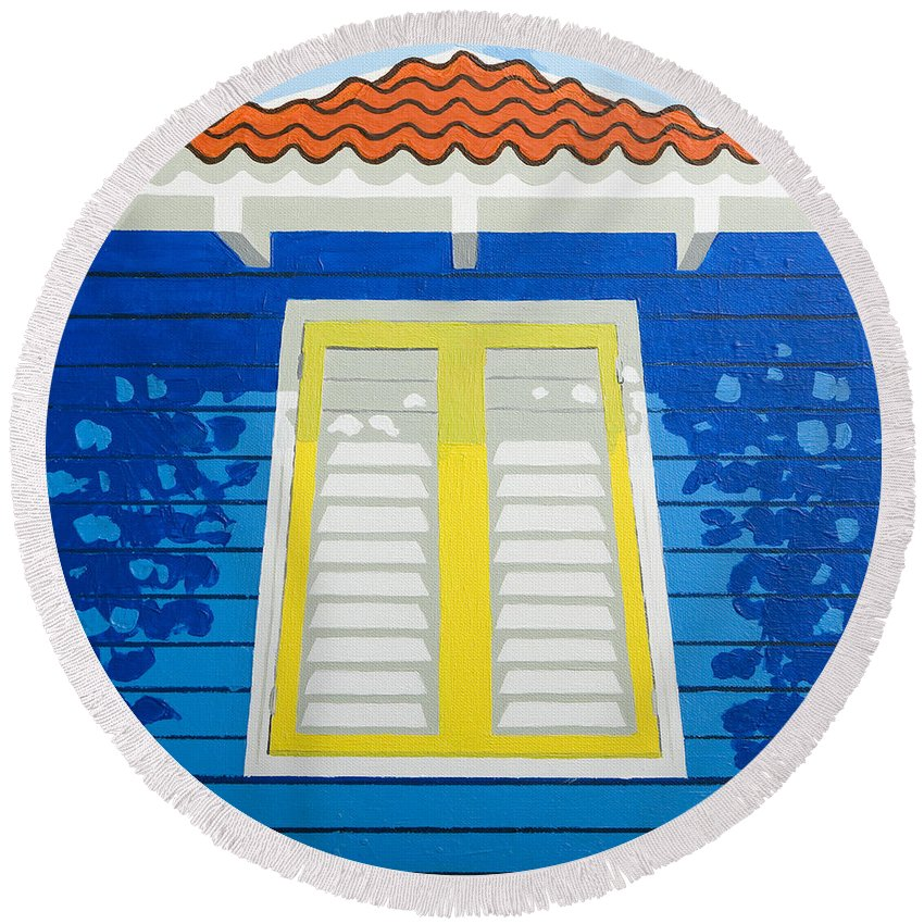 Caribbean House Architecture Sun Painting Blue Curacao Aruba Antilles Round Beach Towel featuring the painting Blue House by Trudie Canwood