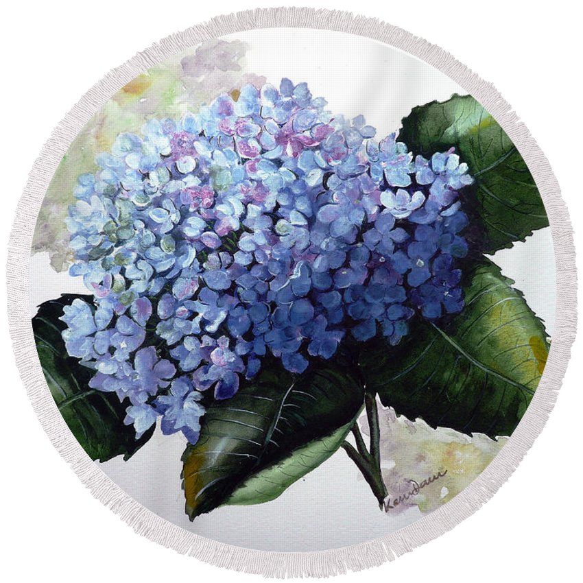 Floral Paintings  Flower Paintings Blue Paintings Botanical Paintings Blue Hydrangea Paintings Greeting Card Paintings Canvas Prints Paintings Poster Art Prints Paintings Bloom Painting Round Beach Towel featuring the painting Blue Hydrangea by Karin Dawn Kelshall- Best