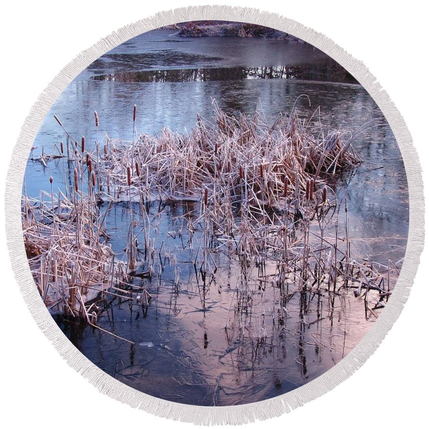 Landscape Round Beach Towel featuring the photograph Blue Ice And Reflections by John Malone