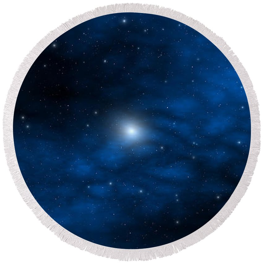 Space Round Beach Towel featuring the digital art Blue Interstellar Gas by Robert aka Bobby Ray Howle