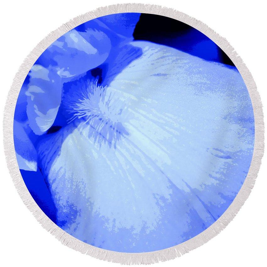 Blue Round Beach Towel featuring the digital art Blue Iris by Tina Meador