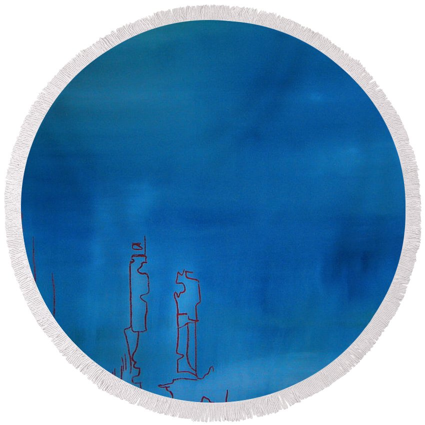 Blue Painting Round Beach Towel featuring the painting Blue by Jeff Barrett