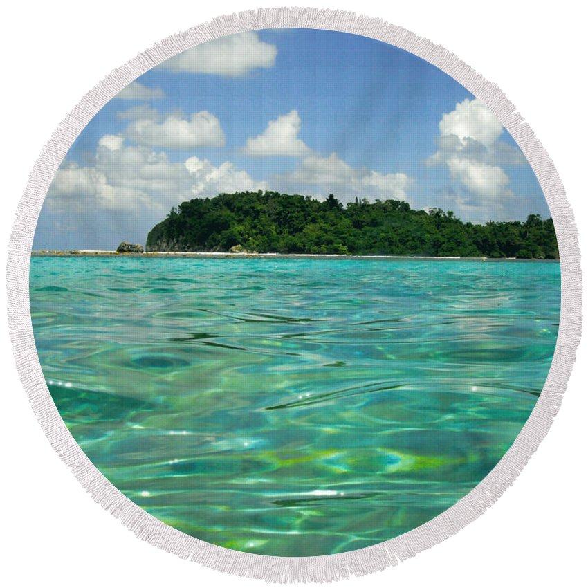 Ocean Round Beach Towel featuring the photograph Blue Lagoon by Carey Chen