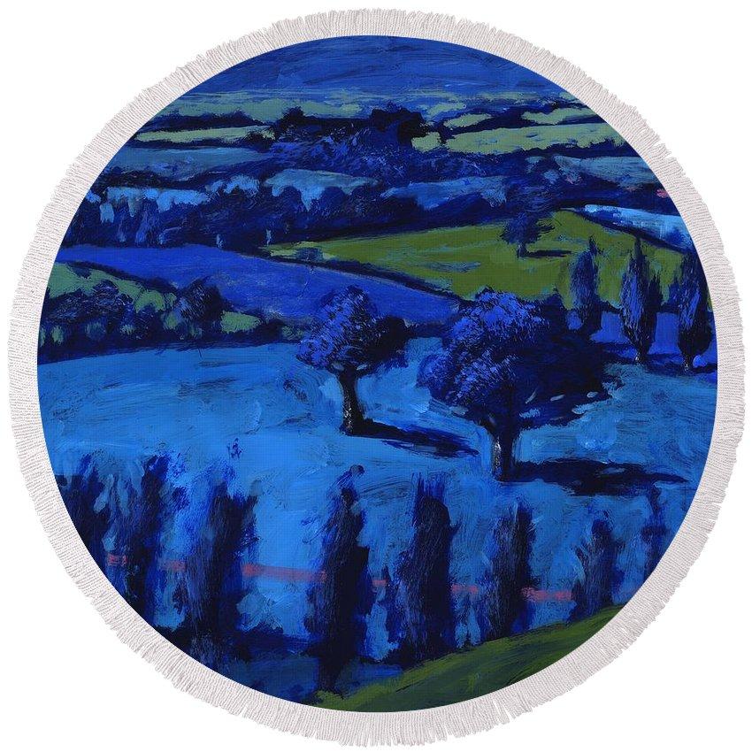 Blue Landscape Round Beach Towel featuring the photograph Blue Landscape by Paul Powis