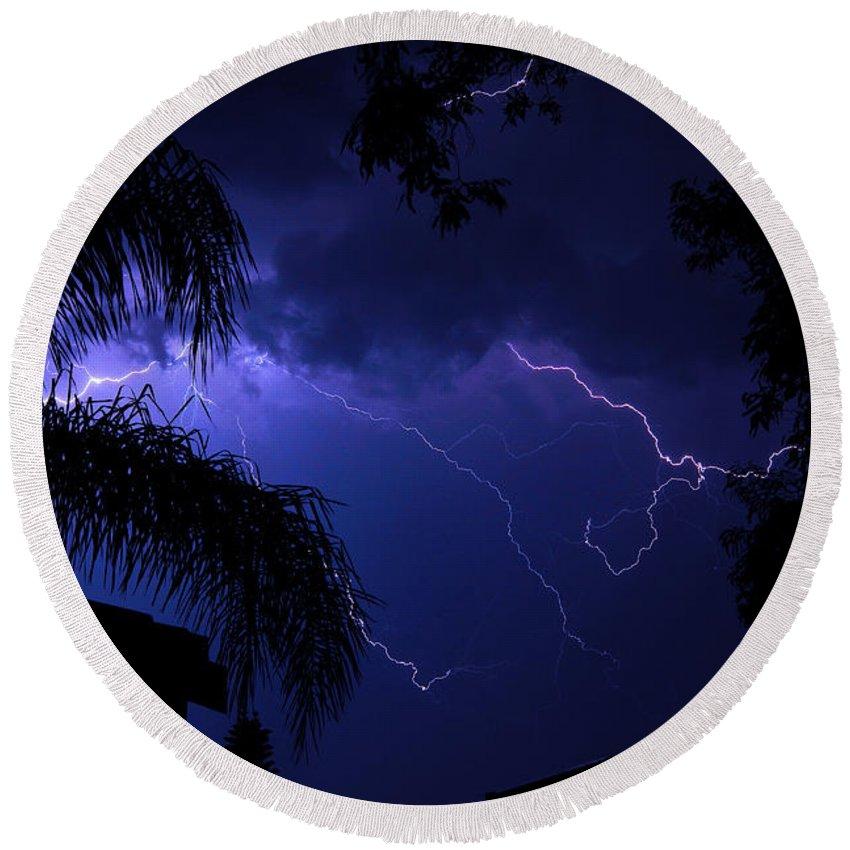 Lightning Round Beach Towel featuring the photograph Blue Lightning by Darren Burton