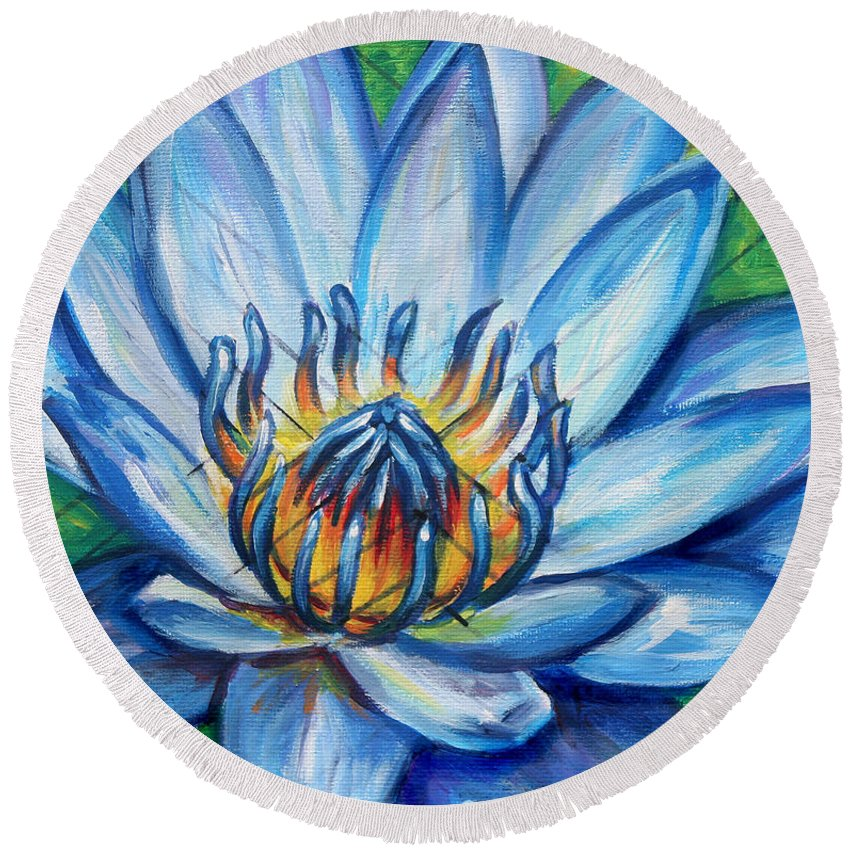 Lotus Round Beach Towel featuring the painting Blue Lotus by Natalie Huggins