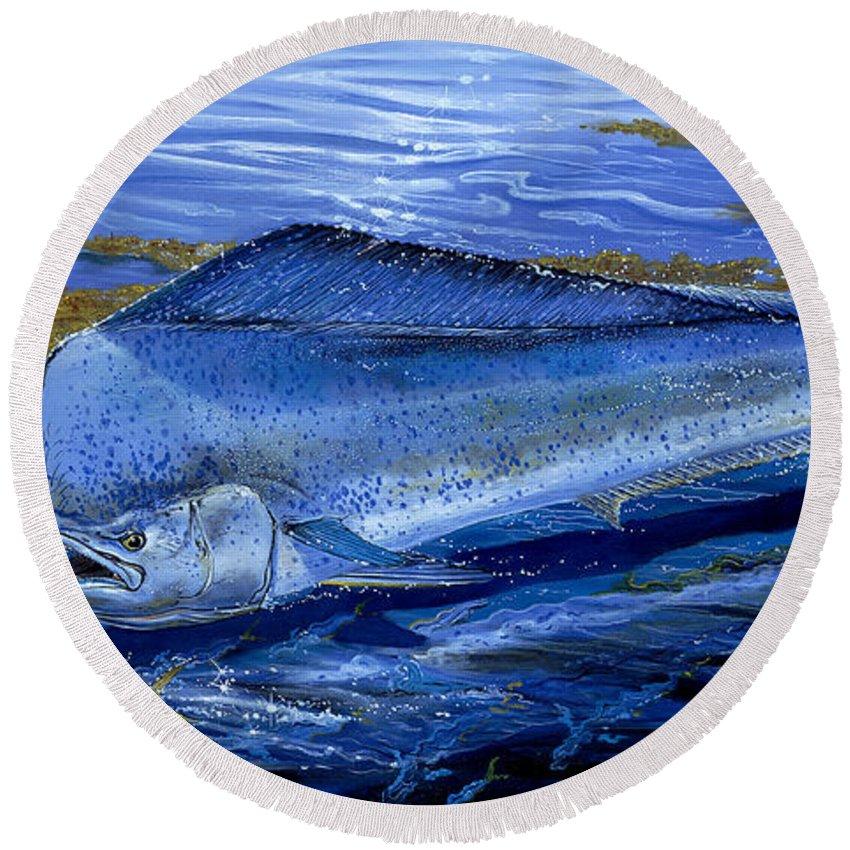 Mahi Mahi Round Beach Towel featuring the painting Blue Mahi Off0071 by Carey Chen