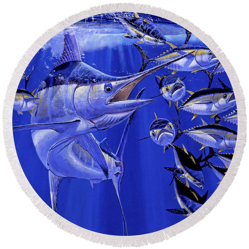 Blue Marlin Round Beach Towel featuring the painting Blue marlin round up Off0031 by Carey Chen