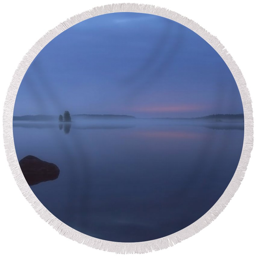 Art Round Beach Towel featuring the photograph Blue Moment by Veikko Suikkanen