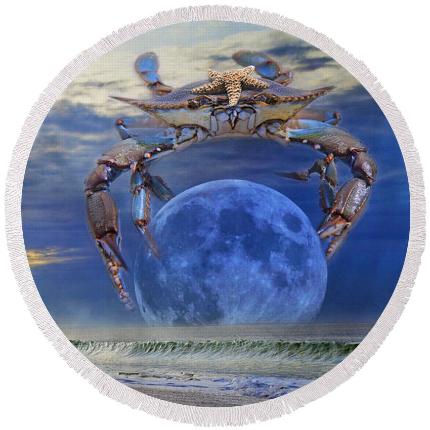 Blue Round Beach Towel featuring the digital art Blue Moon Crab by Betsy Knapp