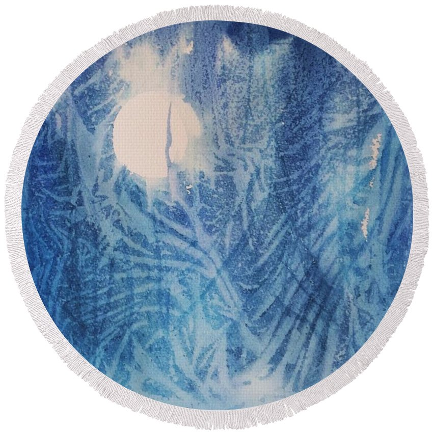 Full Moon Round Beach Towel featuring the painting Blue Moon by Ellen Levinson