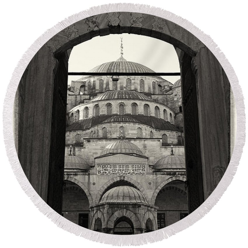 Ancient Round Beach Towel featuring the photograph Blue Mosque Entrance by Stephen Stookey