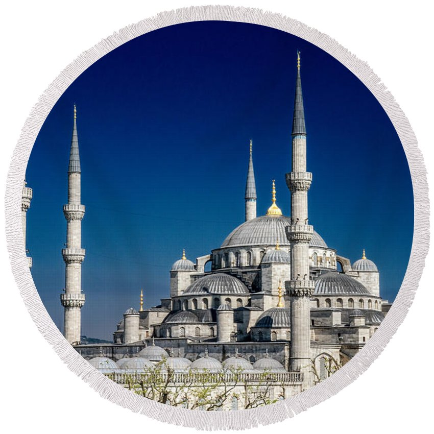 Istanbul Round Beach Towel featuring the photograph Blue Mosque In Istanbul by For Ninety One Days