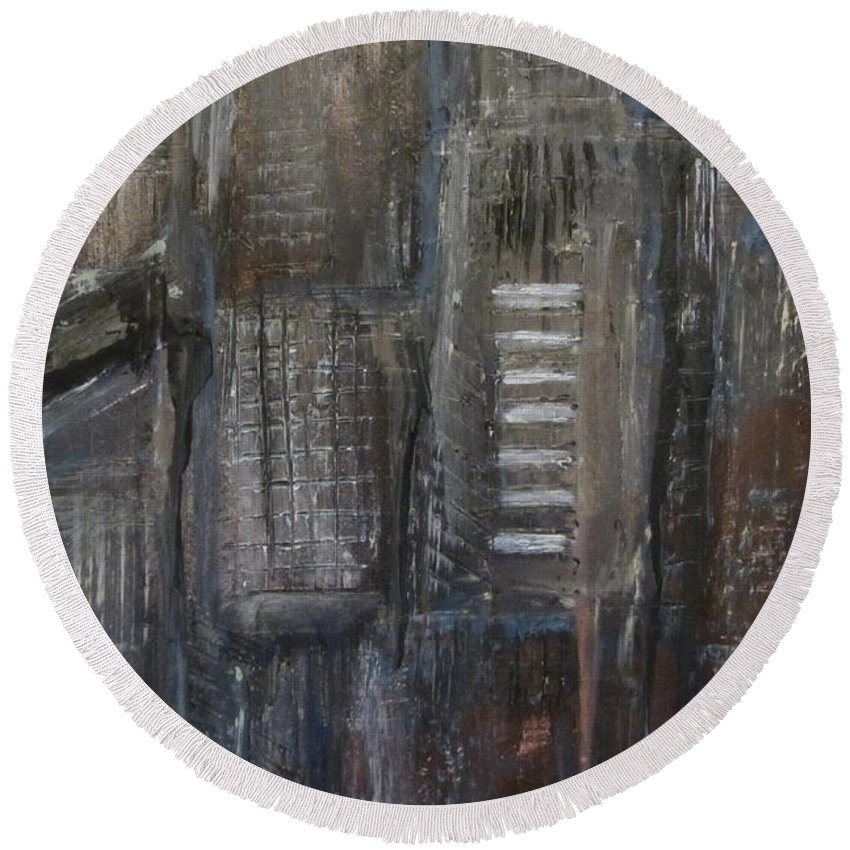 Abstract Round Beach Towel featuring the painting Blue Night Close Up 5 by Anita Burgermeister