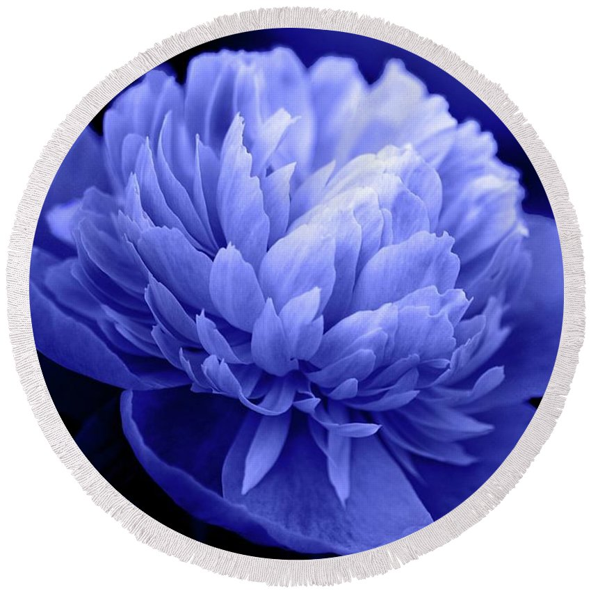 Flowers Round Beach Towel featuring the photograph Blue Peony by Sandy Keeton