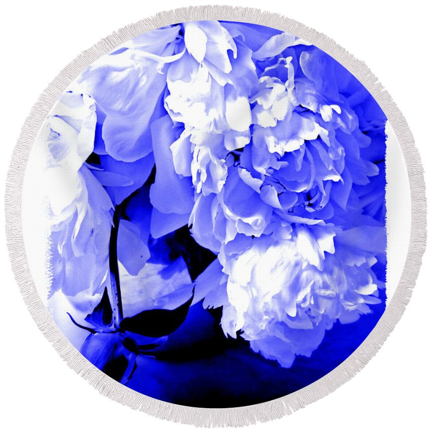Peony Round Beach Towel featuring the photograph Blue Peony by Tina Meador