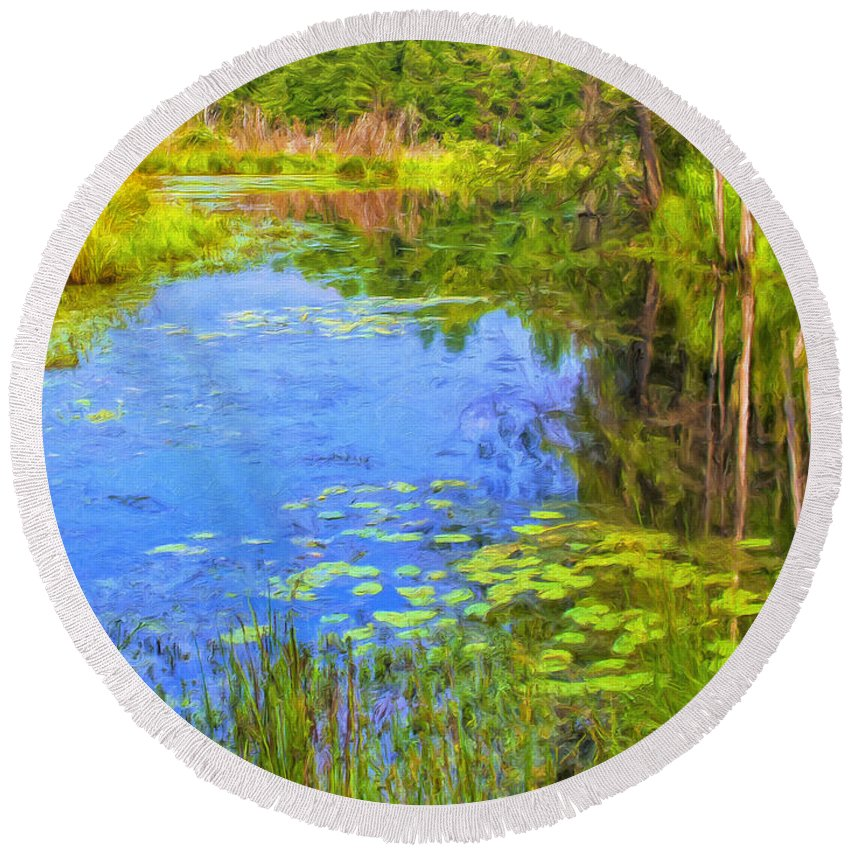 Pond Round Beach Towel featuring the painting Blue Pond And Water Lilies by Dominic Piperata