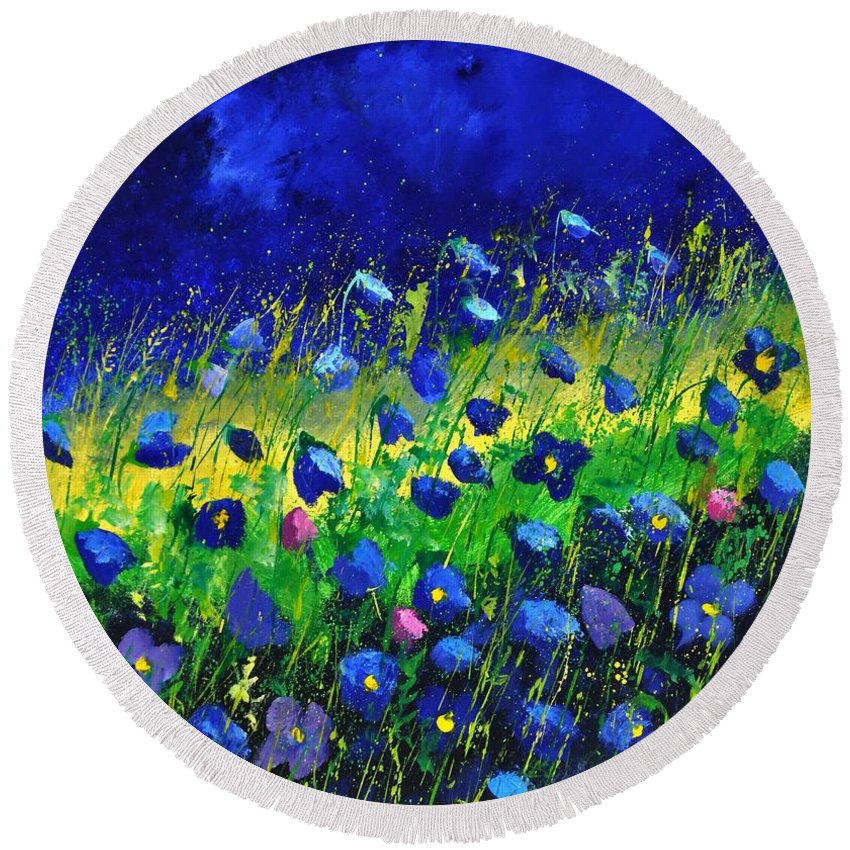 Landscape Round Beach Towel featuring the painting Blue poppies 674190 by Pol Ledent