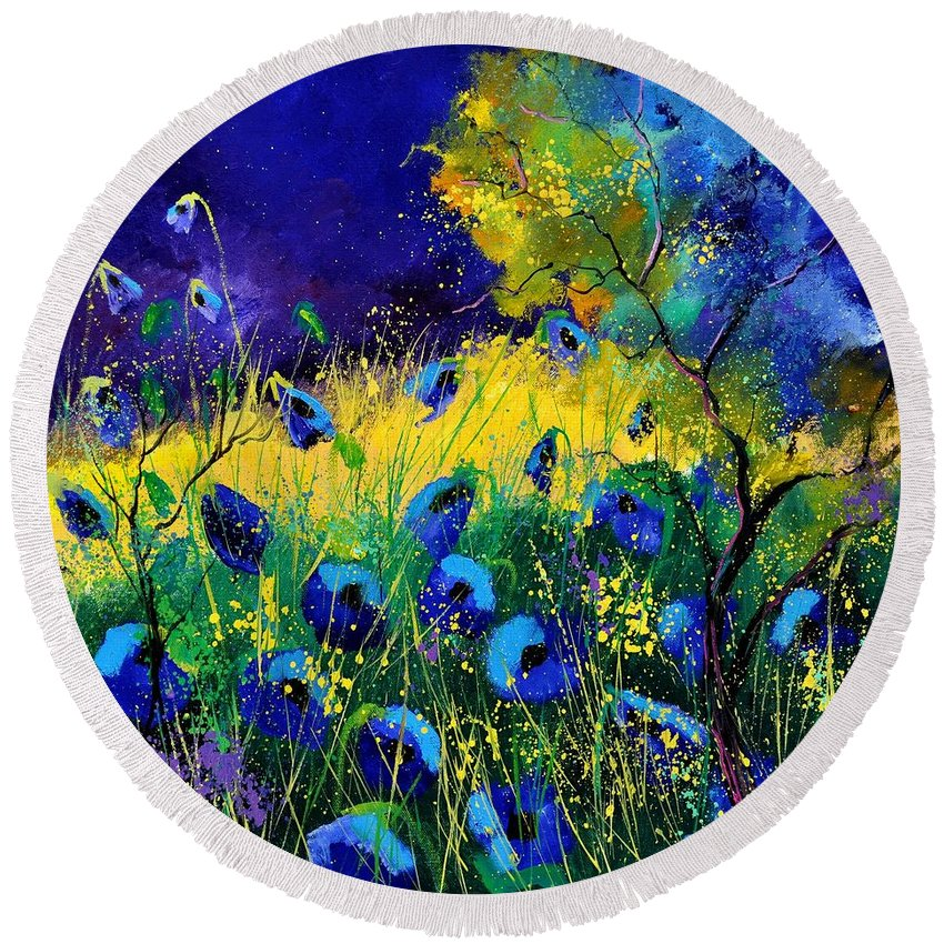 Landscape Round Beach Towel featuring the painting Blue poppies 7741 by Pol Ledent
