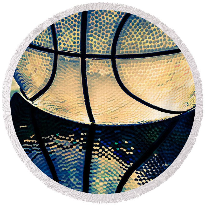 Basketball Round Beach Towel featuring the photograph Blue Basketball by Margaux Dreamaginations