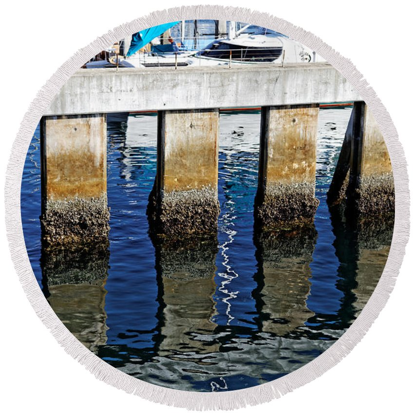 Reflections Round Beach Towel featuring the photograph Blue Reflections by Scott Hill