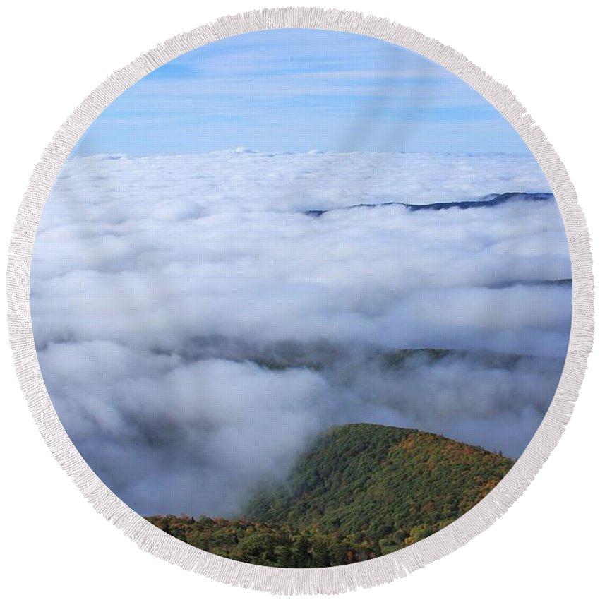 Blue Ridge Round Beach Towel featuring the photograph Blue Ridge Fog by Mountains to the Sea Photo