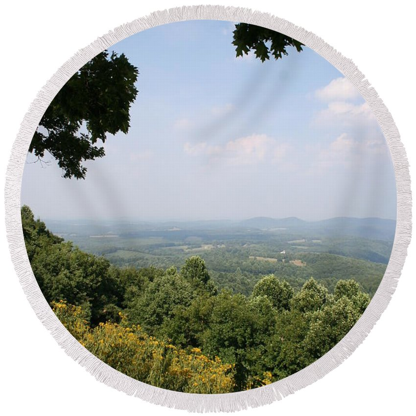 Mountains Round Beach Towel featuring the photograph Blue Ridge Parkway Scenic View by Christiane Schulze Art And Photography