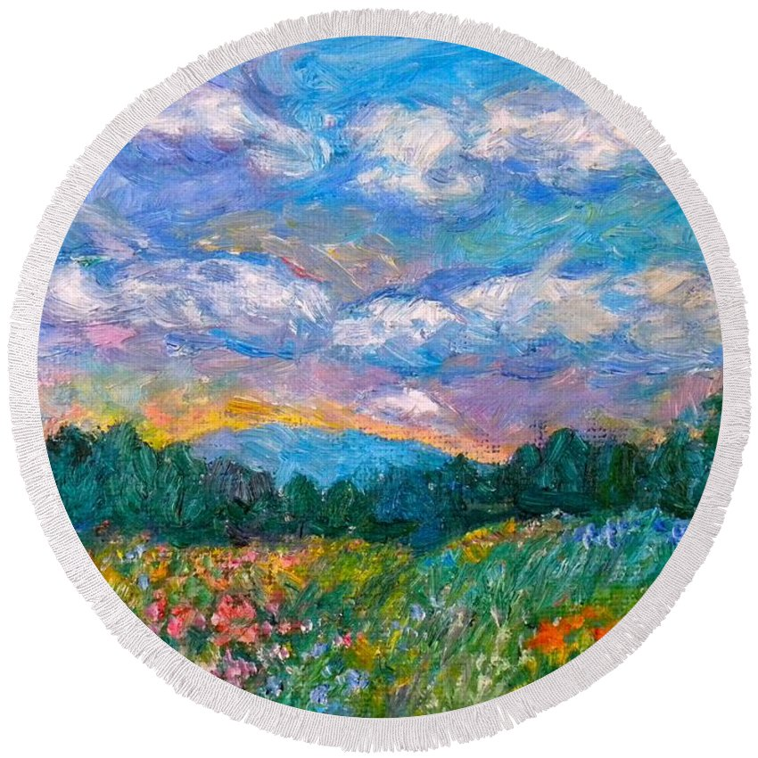 Landscape Round Beach Towel featuring the painting Blue Ridge Wildflowers by Kendall Kessler