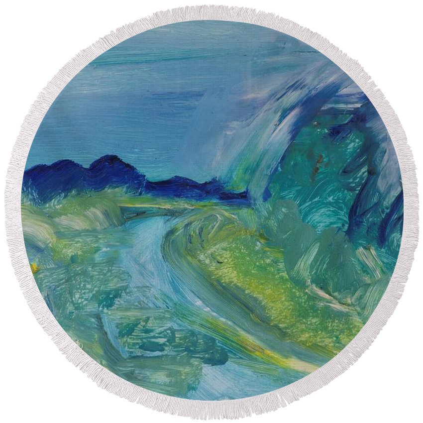 Abstract Round Beach Towel featuring the photograph Blue River Landscape I, 1988 Oil On Canvas by Brenda Brin Booker