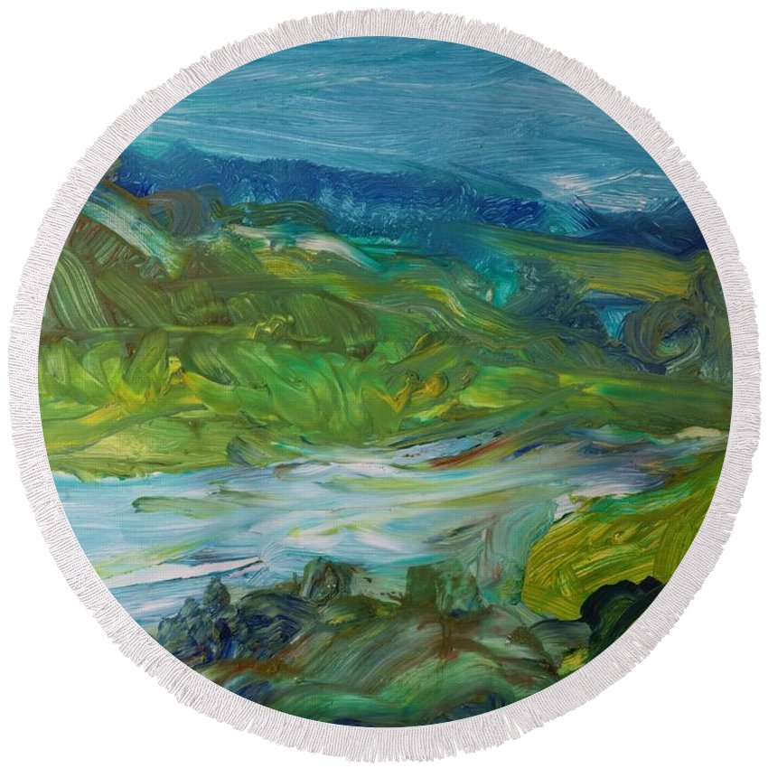 Abstract Round Beach Towel featuring the photograph Blue River Landscape II, 1988 Oil On Canvas by Brenda Brin Booker