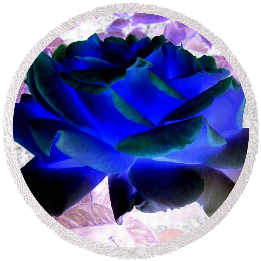 Blue Rose Round Beach Towel featuring the digital art Blue Rose by Will Borden