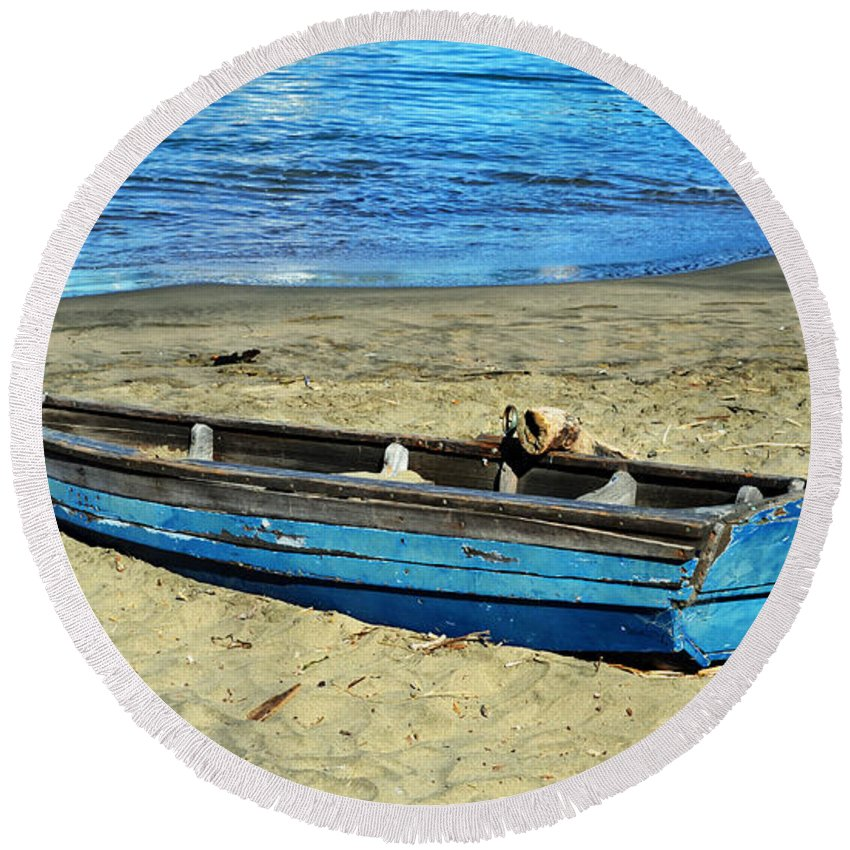 Deserted Round Beach Towel featuring the photograph Blue Rowboat by Holly Blunkall