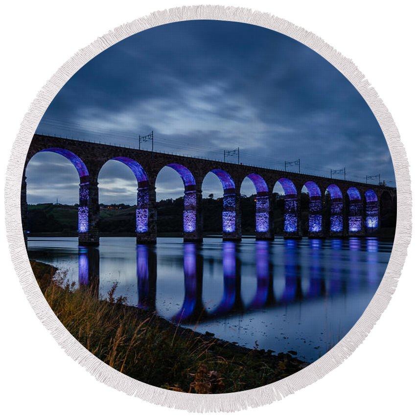 Northumberland Round Beach Towel featuring the photograph Blue Royal Border Bridge by David Head