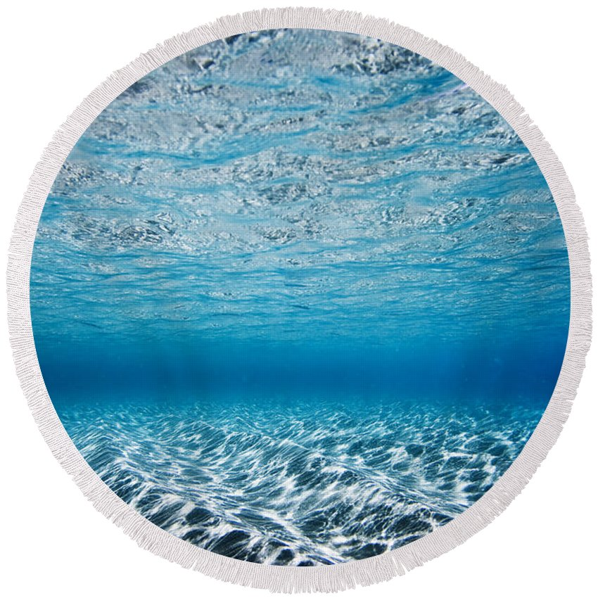 Nature Round Beach Towel featuring the photograph Blue Sea by Sean Davey