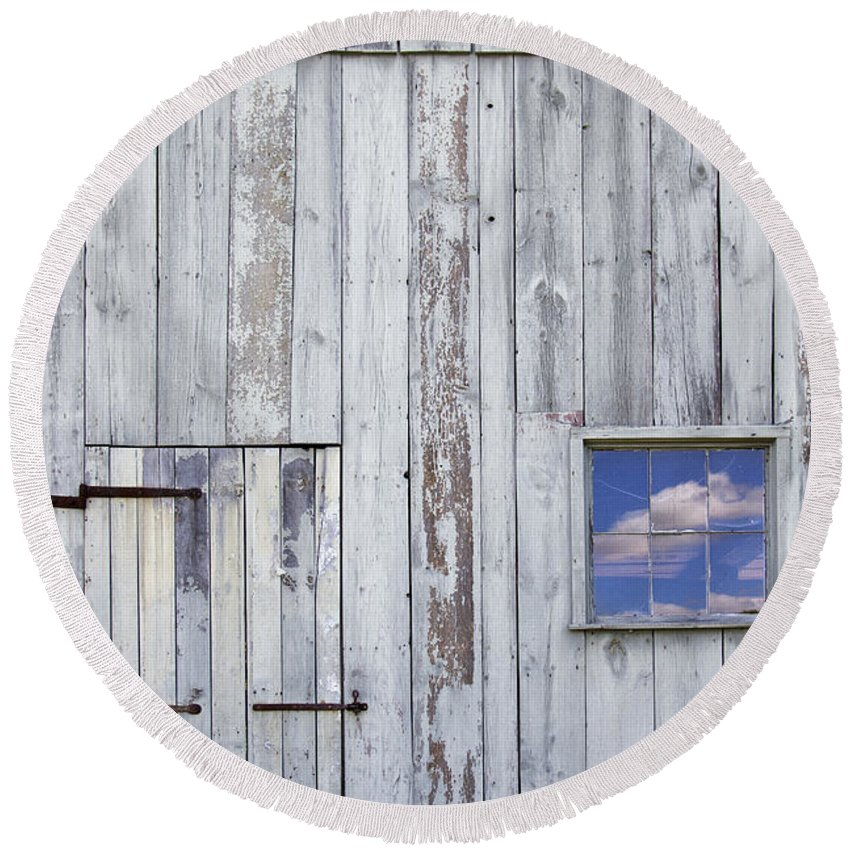 Barn; Old; Worn; White; Painted; Paint; Vintage; Wood; Wooden; Big; Large; Building; Farm; Weathered; Door; Doorway; Window; Glass; Pane; Reflection; Sky; Clouds; Blue; Opposite; Opposing; Reflection; View; Facade; Structure; Side; Front Round Beach Towel featuring the photograph Blue Skies by Margie Hurwich