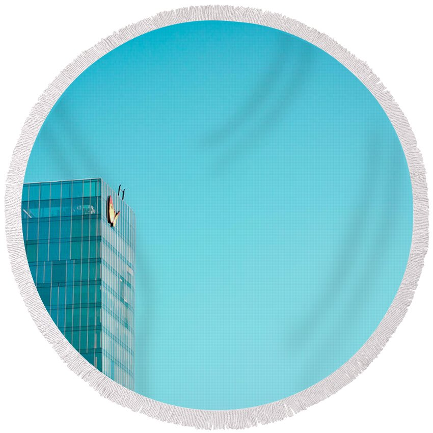 Blue Round Beach Towel featuring the photograph Blue Skies by Pati Photography
